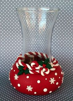 Super Sale! Festive Christmas Vase Candy Canes, Holly And Snowflakes