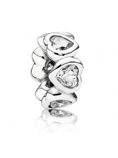 Pandora Silver Clear CZ Heart Spacer 791252CZ