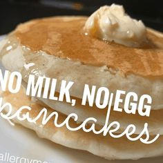 No milk? No egg? No problem! Serve up these pancakes using just water and basic pantry staples. Topped with syrup & your favorite butter...no#Pancake #Recipe #Pancakes #Tasty #Water Pancake Recipe No Eggs 36+ Tasty Pancakes Made With Just Water Dairy & Egg Free | Pancake Recipe No Eggs No Baking Powder | 2020 Pancakes No Milk, Dairy Free Pancakes, Dairy Free Eggs, Dairy Free Diet, Tasty Pancakes, Gluten Free, Lactose Free, Waffles, Egg Free Recipes