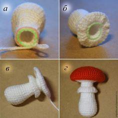 Knit Crochet Hook Through Mushrooms - Free Knitting, Cactus En Crochet, Fruits En Crochet, Crochet Food, Crochet Gifts, Crochet Dolls, Crochet Flowers, Crochet Motifs, Tunisian Crochet, Knit Crochet