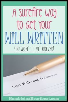 How many times have you thought about writing your will? It's time to stop thinking and start doing! Here is a great idea to get you and your spouse motivated to finally write one.