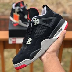 premium selection f037b c043f Jordan Shoes   Air Jordan Retro 4 Black Cement   Color  Black Red
