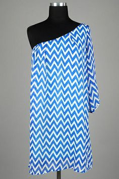 Zen Spell Chevron Print One Shoulder Dress with Pleats at the Neckline, Gathered Bell Sleeve and Relaxed Cut Fit.