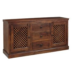 Buy John Lewis & Partners Maharani Large Sideboard, Brown from our Cabinets & Sideboards range at John Lewis & Partners. Small Sideboard, Sideboard Cabinet, Credenza, Deep Shelves, Indian Crafts, Cupboard Doors, British Colonial, Real Wood, John Lewis