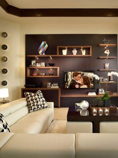 Modern living room decorating ideas, i like this wall shelves & color