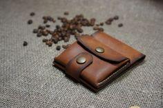 Купить Портмоне из натуральной итальянской кожи Crazy Horse ручной работы - коричневый, однотонный, портмоне