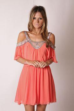Coral Off The Shoulder Dress.