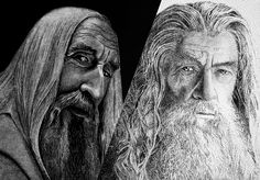 Heroes and Villains: Sauron and Gandalf by Ola Sonina