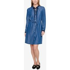 Tommy Hilfiger Ruffled Chambray Shirtdress, Created for Macy's ($35) ❤ liked on Polyvore featuring dresses, chambray denim, blue ruffle dress, tie dress, flutter-sleeve dresses, long shirt dress and tommy hilfiger dresses