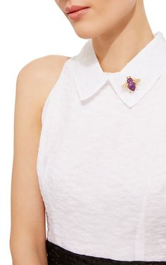 Amethyst Invisible Setting Diamond Bee Brooch by SABBADINI for Preorder on Moda Operandi
