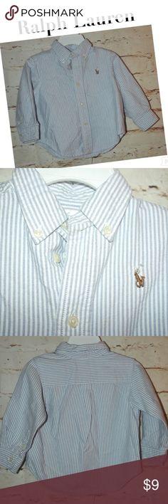 Ralph Lauren Baby Striped Seersucker Oxford Shirt Super cute oxford for a baby boy. In excellent, like new condition. Ralph Lauren Shirts & Tops Button Down Shirts