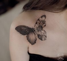 Butterfly cover up tattoo on shoulder by @zihwa_tattooer