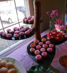 Here is our diy Cupcake Dessert Stand completed with the cupcakes placed on each leaf Garden Cupcakes, Fairy Cupcakes, Giant Cupcakes, Wedding Cakes With Cupcakes, Cupcake Wedding, Cake And Cupcake Stand, Cupcake Icing, Cupcake Display, Cupcake Cakes