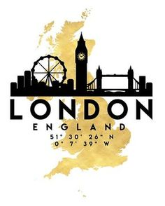 LONDON ENGLAND SILHOUETTE SKYLINE MAP ART - The beautiful silhouette skyline of London and the great map of Great Britain in gold, with the exact coordinates of London make up this amazing art piece. A great gift for anybody that has love for this city. london england united kingdom uk great britain downtown silhouette skyline map coordinates souvenir gold deificus art
