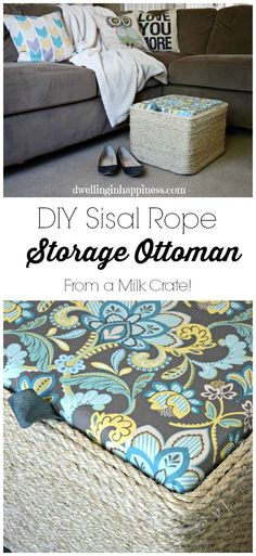 Make an ottoman out of sisal rope and a milk crate - milk crate uses - DIY ottoman Milk Crate Storage, Upcycled Furniture, Furniture Projects, Diy Furniture, Crate Ottoman, Diy Ottoman, Diy Storage Ottoman, Ottoman Ideas, Bed Storage