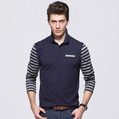 Find More Polo Information about Mens Slim Cotton Striped Shirt Long Sleeve POLO…