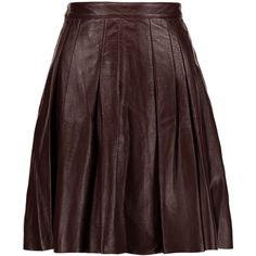 Belstaff - Luxton Pleated Leather Skirt ($499) ❤ liked on Polyvore featuring skirts, merlot, genuine leather skirt, leather zipper skirt, knee length leather skirt, knee length pleated skirt and leather skirt