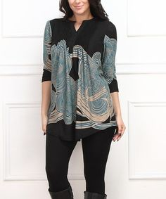 Another great find on #zulily! Teal & Black Cloud Notch Neck Tunic - Plus #zulilyfinds