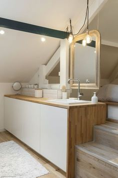 Bathroom lighting ideas for small or large master and guest bathroom. Choose from this article to put together the best bathroom lighting scheme. Attic Bathroom, Attic Rooms, Laundry In Bathroom, Small Bathroom, Bad Inspiration, Bathroom Inspiration, Nature Inspired Bedroom, Ikea Mirror, Mirror Bedroom