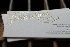 Fleurishing business cards with gold foil, lovely. Wood Business Cards, Letterpress Business Cards, Elegant Business Cards, Letterpress Printing, Stationery Design, Branding Design, Branding Iron, Little Designs, Pretty Packaging