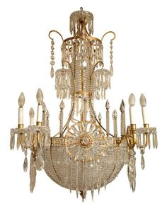 Antique Russian Bronze and Crystal Chandelier.