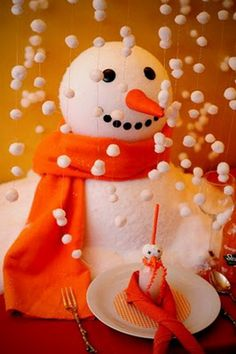 Snowman Party Theme with hand strung falling snow, party colors in orange and white and adorable snowman milk bottle drinks. Snowman Christmas Decorations, Snowman Crafts, Christmas Snowman, Winter Christmas, Christmas Colors, Snowman Soup, Snowman Cake, Office Christmas, Father Christmas