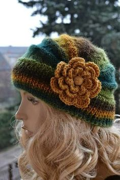 Knitted cap in flower cap / hat lovely warm autumn accessories women clothing Knit Hat Womens Crochet Hooks, Knit Crochet, Fall Accessories, Clothing Accessories, Warm Autumn, Girl With Hat, Beanie Hats, Hats For Women, Baby Knitting