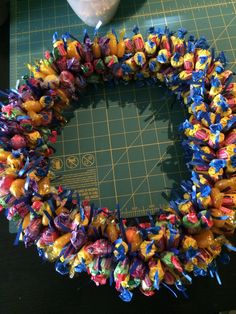 Making candy lei