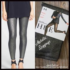 "❗️1-HOUR SALE❗️LEGGINGS BLACK METALLIC Print Satin  NEW WITH TAGS   AMAZING GLAM STYLE! LEGGINGS BLACK METALLIC Print Satin Jersey Pants  * Incredibly comfortable & lightweight  * Designed to be layered or worn on their own * Elasticized waist, real fly & back pockets, & belt loops  * Approx. 9"" rise & 29""L * Stretch-To-Fit Style; Metallic gravel print Fabric: 93% polyester & 7% Spandex  Color: Black Pewter Tagged size M-Approx fits sizes 8-10  No Trades ✅ Offers Considered*✅  *Please use…"