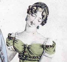 1812 - Vintage Victorian HAIRSTYLES: Hair was piled on the head styles imitating those seen on Greek and Roman sculptures. Hair was usually wavy or curled a bun or fancy braid at the back of the head usually small ringlets at the forehead