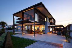 Maison contemporaine, ossature bois, poteau-poutre