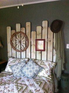 Western headboard made from fence boards - $11