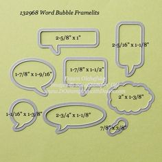 What size are Stampin' Up! Framelits?  Word Bubbles
