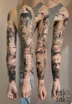Sleeve tattoo tattoo texte, tatoo art, tattoo ink, tattoo arm mann, p Tattoo Trash, Trash Polka Tattoo, Body Art Tattoos, Sleeve Tattoos, Tatoos, Portrait Tattoo Sleeve, Tattoo Arm Mann, I Tattoo, Button Tattoo