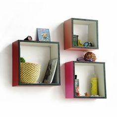 Trista - [Sweet Sixteen] Square Leather Wall Shelf / Bookshelf / Floating Shelf (Set of 3)