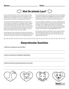 Valentine's Day Activity: What Do Animals Love? #teachkindness #valentinesday #freebies #worksheets
