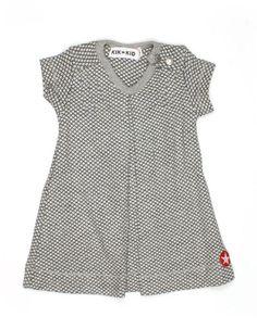 Lichtgrijs tricot jurkje voor baby'tjes met zwart ruitjespatroon - Kik*Kid