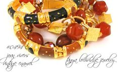 Tanya Lochridge Jewelry Carnelian & Gold Vermeil Bracelet stacked with early Joan Rivers Classics Collection enamel bangles. #joanriversclassicscollection #tanyalochridgejewelry