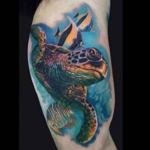 Tattoo colored turtle with fish