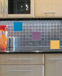 Colorful Custom Backsplash - Custom Made Crystal Images Glass Tiles