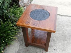 Small End Table Made Of Antique Pine And A New Orleans Water Meter(new.