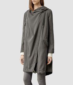 Womens Portere Parka Jacket (Khaki) - ALLSAINTS