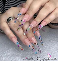 In seek out some nail designs and ideas for your nails? Here's our listing of must-try coffin acrylic nails for fashionable women. Classy Acrylic Nails, Edgy Nails, Cute Acrylic Nail Designs, Funky Nails, Best Acrylic Nails, Grunge Nails, Halloween Acrylic Nails, Transparent Nails, Butterfly Nail