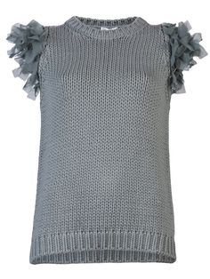 Brunello Cucinelli Ruffle Sleeve English Ribbed Pullover Top http://roanshop.com/brunello-cucinelli-ruffle-sleeve-english-ribbed-top.html