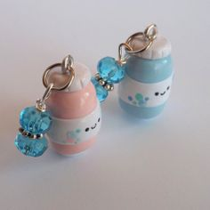Bubble Jar Charm Choose Blue or Pink Kawaii by PitterPatterPolymer, $7.00
