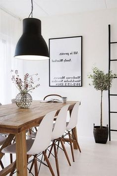 Finest Scandinavian Dining Room Design Ideas With Swedish Style - Home Decor - Wooden Dining Table Designs, Wooden Dining Tables, Modern Dining Table, Dining Room Design, Scandinavian Dining Table, Esstisch Design, Minimalist Dining Room, Elegant Dining Room, Home Interiors