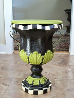 Don't settle for typical. Let me give your urn character. www.furnitureartbygerri.com Whimsical Painted Furniture, Funky Furniture, Painted Flower Pots, Painted Pots, Garden Whimsy, Garden Art, Mackenzie Childs Furniture, Garden Projects, Diy Projects