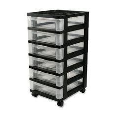 Mini Kisten, 6 Schubladen, 31,8/40.64 cm - 10.16 cm x 36,8 x 26/27./40.64 cm, Schwarz