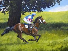 """Off to the start line"" Chaddesley Races. Oil painting on canvas 36 × 28"". #art #oilpainting #equestrianart #horsepaintings #point-to-point racing #horses #horseracingart #horsepaintings #chaddeslycorbett"