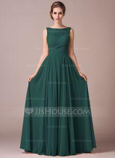 A-Line/Princess Scoop Neck Floor-Length Chiffon Lace Bridesmaid Dress With Ruffle (007057702) - JJsHouse